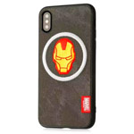 Чехол Marvel Avengers Leather case для Apple iPhone X (Ironman, матерчатый)