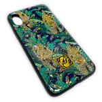 Чехол Yotrix GlitterFoil Case для Apple iPhone XS (Cheetah in Leafs, гелевый)