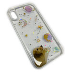 Чехол Yotrix GlitterFoil Case для Apple iPhone XS (Dog and Planets, гелевый)