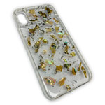 Чехол Yotrix GlitterFoil Case для Apple iPhone XS (Patches Gold, гелевый)