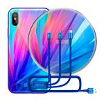 Подарочный набор Nillkin Fancy (синий, беспроводное зарядное устройство/чехол iPhone X/кабель)