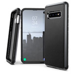 Чехол X-doria Defense Lux для Samsung Galaxy S10 plus (Black Leather, маталлический)