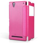 Чехол Nillkin Sparkle Leather Case для Sony Xperia T2 Ultra XM50h (розовый, кожаный)